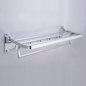 Buy kes a4015 bathroom aluminum foldable towel rack shelf with coat and robe hooks wall mount aluminum