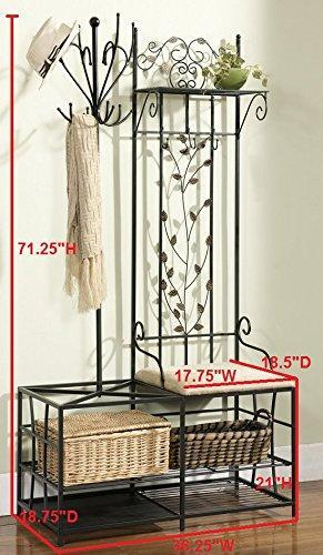 Online shopping kings brand black finish metal hallway storage bench with coat rack umbrella holder