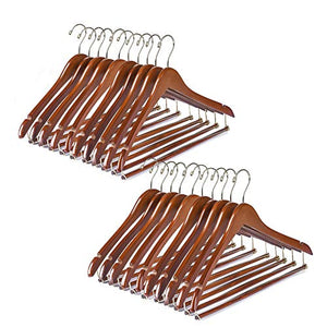 Quality Hangers Wooden Hangers Beautiful Sturdy Suit Coat Hangers with Locking Bar Walnut Finish Gold Hooks (20)