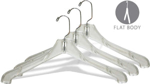 Latest the great american hanger company heavy duty clear plastic coat hanger box of 100 sturdy 1 2 inch thick top hangers w 360 degree chrome swivel hook for jacket or uniform