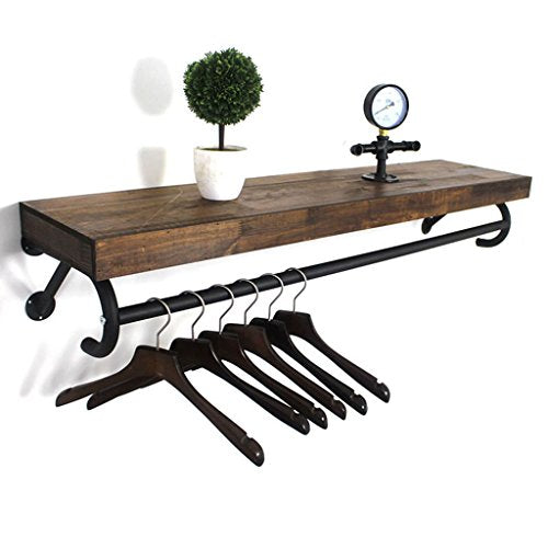 GJM Shop Wood + Iron Clothing Store Window Display Stand Retro Coat Racks Wall Hanging Clothing Display Rack Clothing Store Shelves Wall Shelves Rack (Size : 80cm)