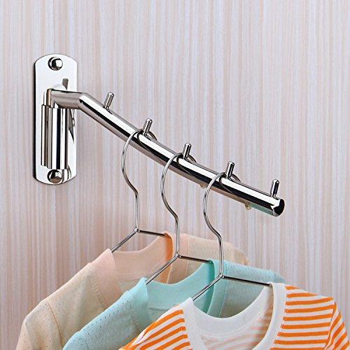 On amazon folding wall mounted clothes hanger rack wall clothes hanger stainless steel swing arm wall mount clothes rack heavy duty drying coat hook clothing hanging system closet storage organizer 1pack