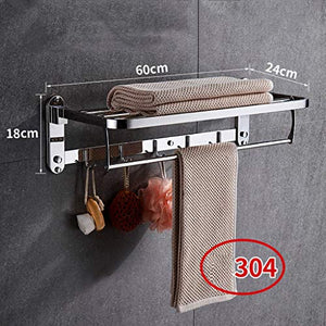 Ping Bu Qing Yun Towel Rack-304 Stainless Steel, Multi-Function, Foldable, Perforated, Bathroom Shelf Wall Mount, Suitable for: Bathroom Towel Rack (Color : B)