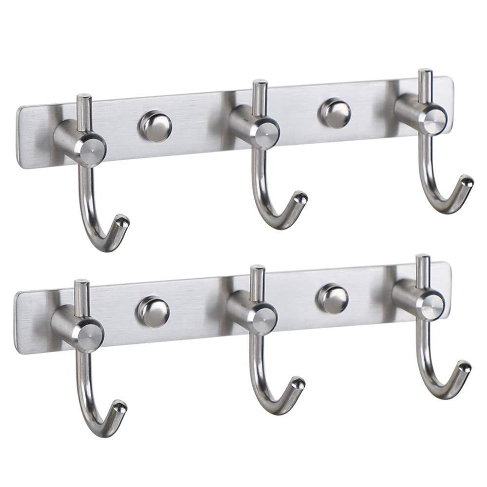 New mellewell hook rail coat rack with 3 hooks stainless steel 304 brushed nickel pack of 2