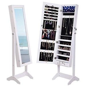 Giantex 5 LEDs Mirrored Jewelry Cabinet with Full Length Mirror, Standing Jewelry Armoire with 2 Drawers and 3 Adjustable Angle, Lockable Standing Mirrored Jewelry Armoire Organizer, White