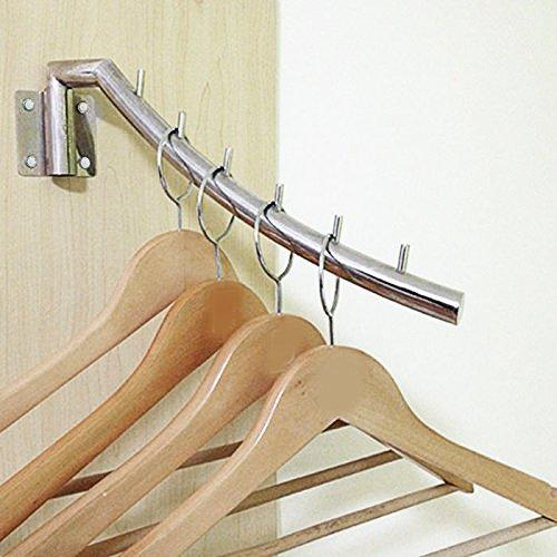 IMEEA Closet Hanger Space Saver Swing Arm Wall-Mounted SUS304 Brushed Stainless Steel with 6 Hooks 12.6inch (2-Set)