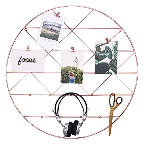 Zksanmer Round Wall Gird Panel, Multifunctional Wire Photo Organizer & Hanging Display, Decorative Wall Storage Organizer Rack with Coat Hook, Rose Gold