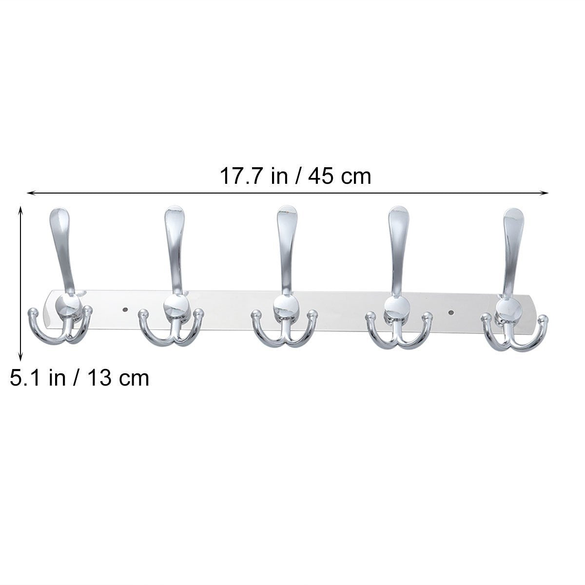 Get toymytoy 2pcs wall mounted coat hook 2 pack rack with 5 stainless steel hat hanger