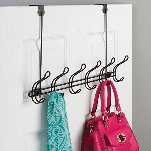 Discover interdesign classico wall mount over door storage rack organizer hooks for coats hats robes clothes or towels 6 dual hooks bronze