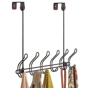 Discover the best interdesign classico wall mount over door storage rack organizer hooks for coats hats robes clothes or towels 6 dual hooks bronze