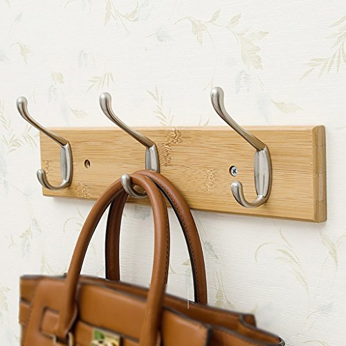 LXLA- Shelf Hangers Coat Rack Hook Up Wood Bamboo Wall-mounted White Brown (Available 3,4,5,6,7,8 Hooks, 35/48/61/74/87/95 7.5 1.5cm) (Color : Natural, Size : 3 hooks)