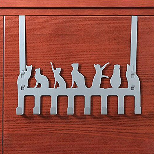 Frjjthchy Creative Cat Over Door Hook Hanger Decorative Organizer Hooks Rack with 8 Hooks (S, Silver)