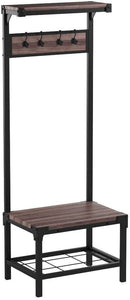 Buy now ehomeproducts reclaimed oak industrial look entryway shoe bench with coat rack hall tree storage organizer 8 hooks in black metal finish