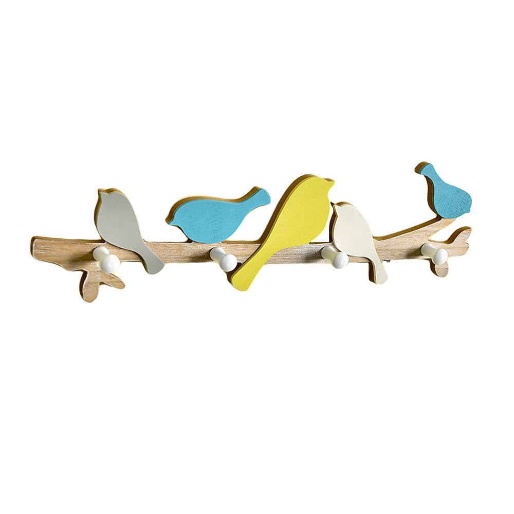 FLYING BALLOON Pastoral Style Birds Shaped Solid Wood MDF Decorative Wall Mounted Key Holder with 4 Hooks Coat Hook Rack for Home Entrance