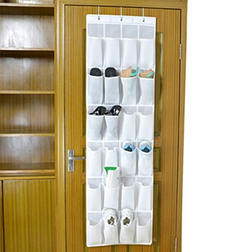 JIAHG 24-Pocket Hanging Over Door Wall Home Storage Pouch Wardrobe Gadget Organizers Accessories Closet Pocket Shoes Rack Underwear Socks Organizer Multi-Layer Room Bedroom Bath Tidy Space Saver Bag