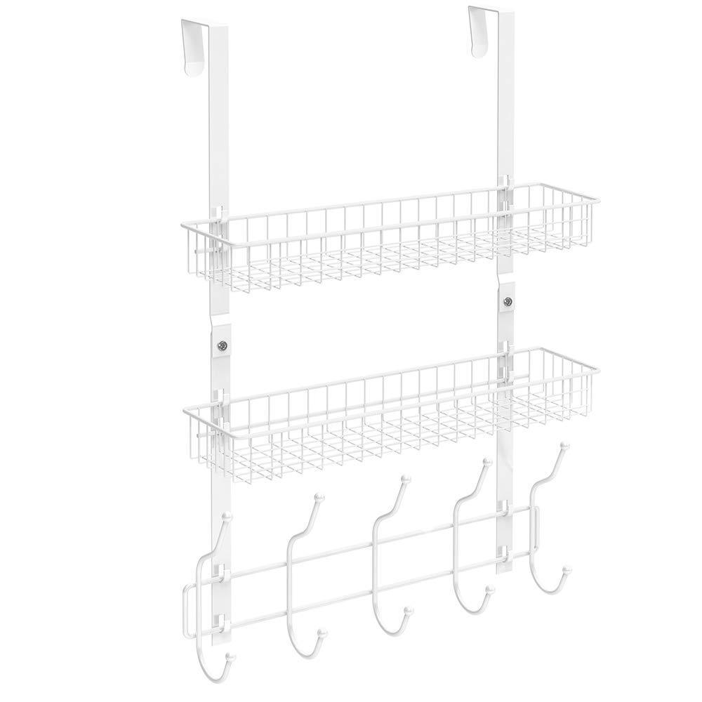 Results nex upgrade over the door hook shelf organizer 5 hooks with 2 baskets storage rack for coats towels chrome white