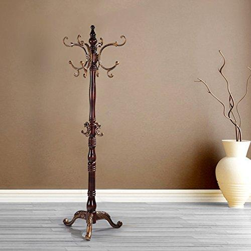 Best european style solid wood coat racks indoor landing bedroom hangers modern assembly home clothes hanger 180cm color brown