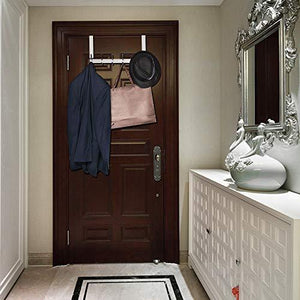 Featured yumore door hanger stainless steel heavy duty over the door hook for coats robes hats clothes towels hanging towel rack organizer easy install space saving bathroom hooks