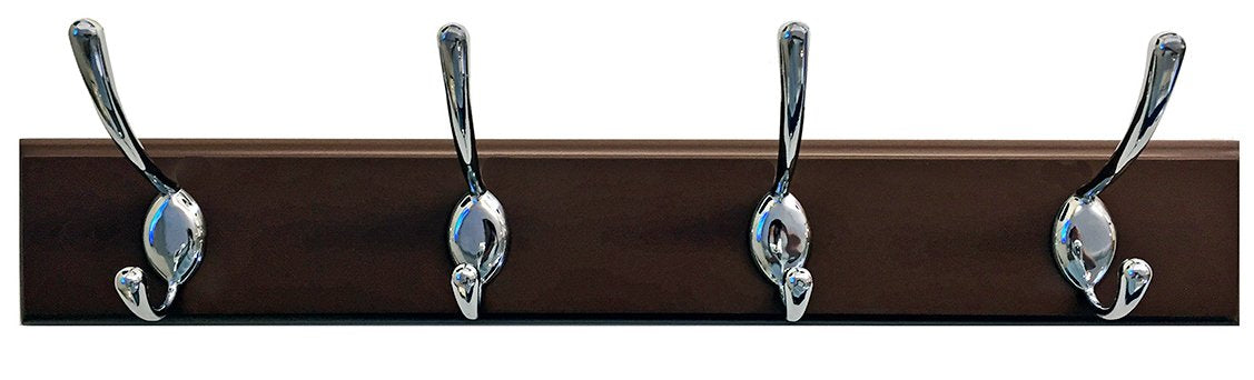 "Headbourne 8041E 18"" Dark Brown Hook Rail / Coat Rack with 4 Chrome Double Hooks"