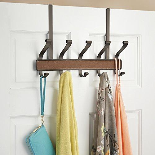 Top rated interdesign laredo over door storage rack organizer hooks for coats hats robes clothes or towels 5 dual hooks brown bronze