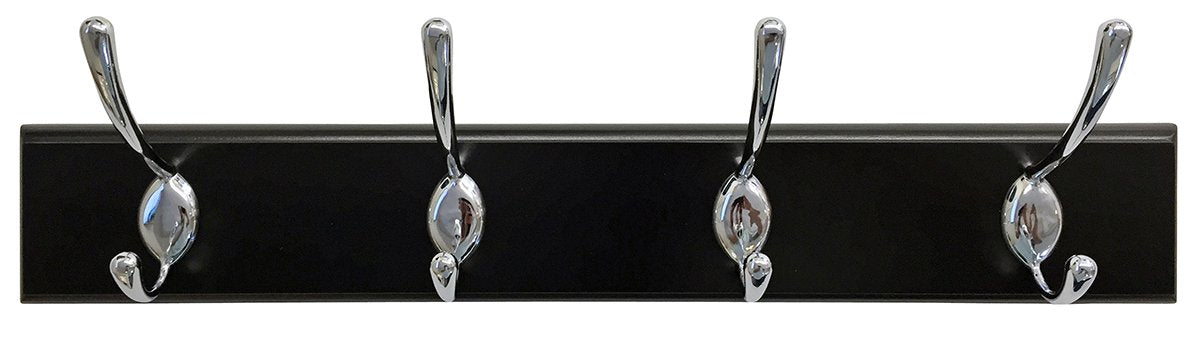 "Headbourne 8030E 18"" Black Hook Rail / Coat Rack with 4 Chrome Double Hooks"