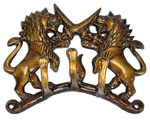eSplanade Multicolored Ethnic Horse Brass Key | Key Stand | Key Holder, for Keys Hanger Hook, Wall Key Holder, Key Stand, Keys Rack Hook, Key Hanging Hooks (Fighting Lions)