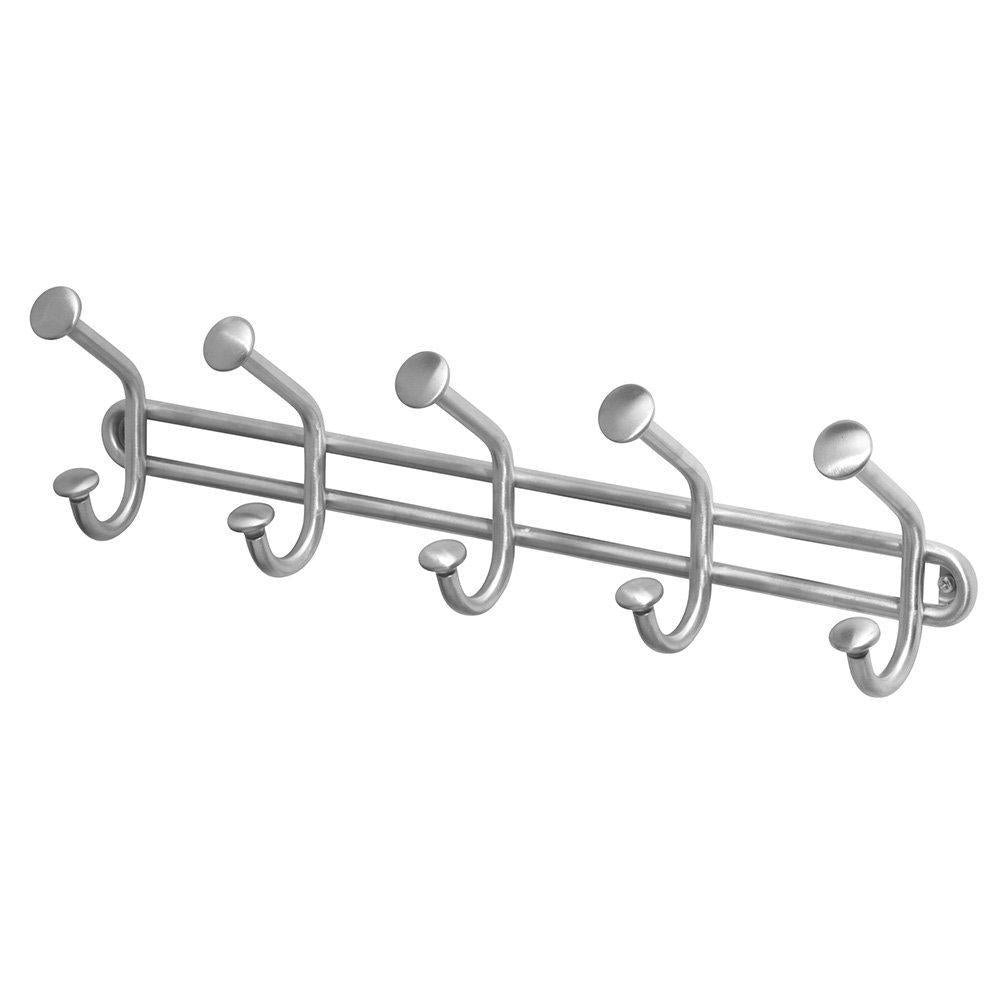 Get interdesign forma wall mount storage rack hanging hooks for jackets coats hats and scarves 5 dual hooks brushed stainless steel