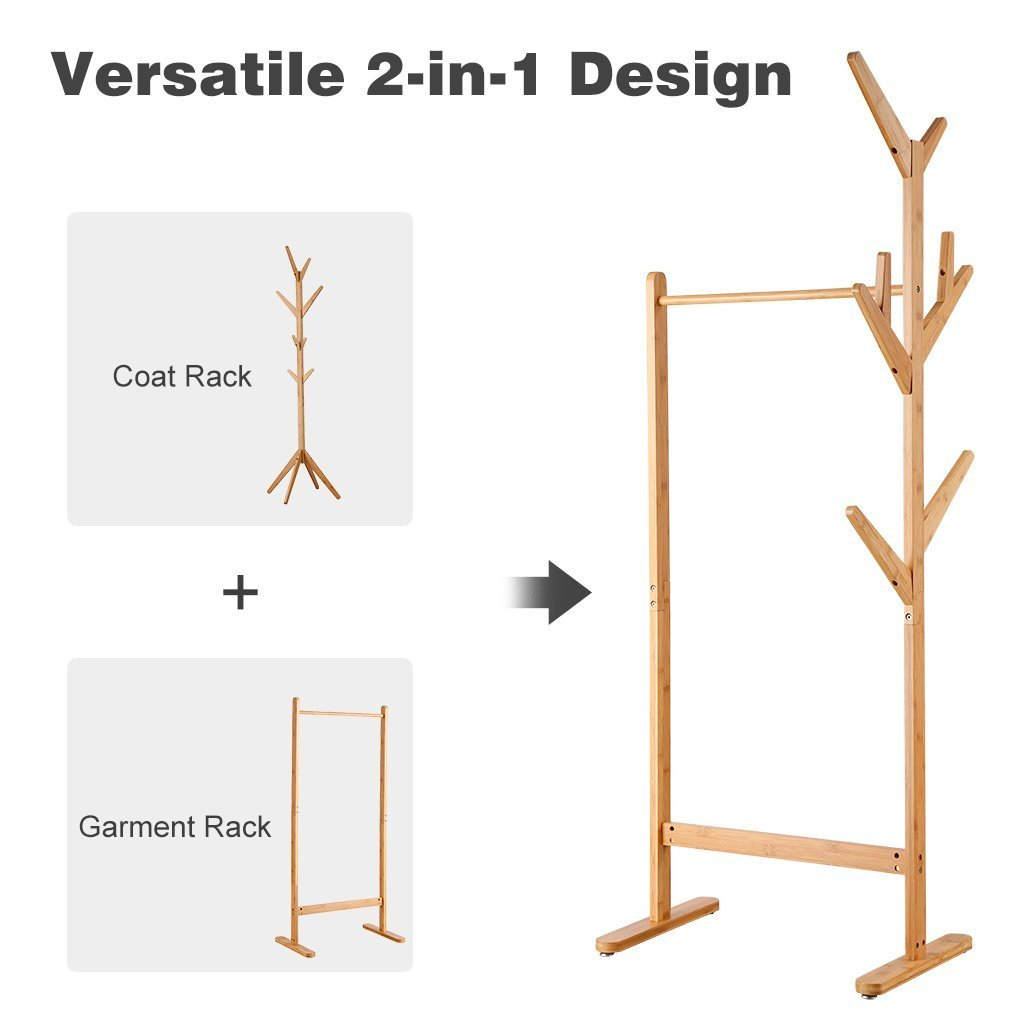 Great langria single rail bamboo garment rack with 8 side hook tree stand coat hanger and four stable leveling feet for jacket umbrella clothes hats scarf and handbags natural wood finish