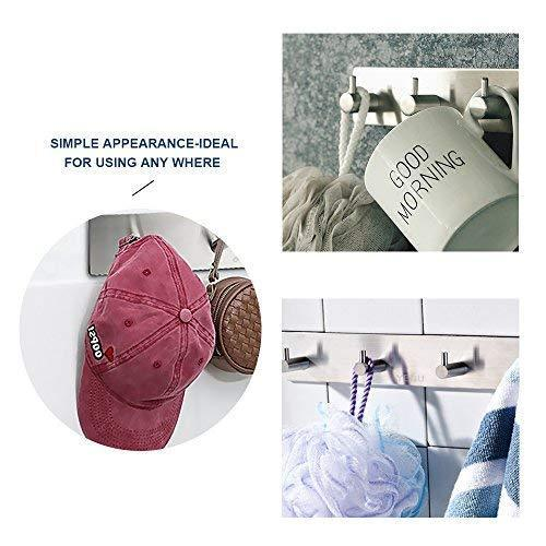 Latest 3m self adhesive hooks key rack yegu brushed sus304 stainless steel heavy duty coat hanger purse robe towel 4 hook rail for bathroom lavatory kitchen contemporary style wall mount no drilling