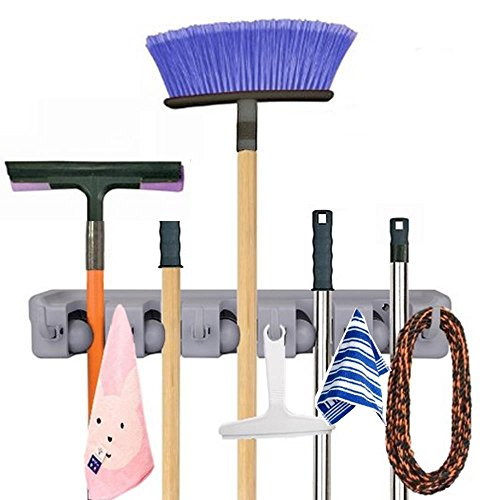 Yantu Mop and Broom Holder, Wall Mounted Garden Tool Storage Tool Rack Storage & Organization for Your Home, Closet, Garage and Shed, Holds Up To 11 Tools,Superior Quality Tool Rack Holds Mops, Brooms, or Sports Equipment (5-Position)