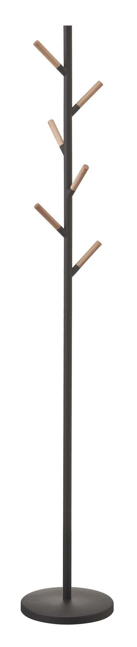 Results stainless steel wood modern coat tree rack in black finish
