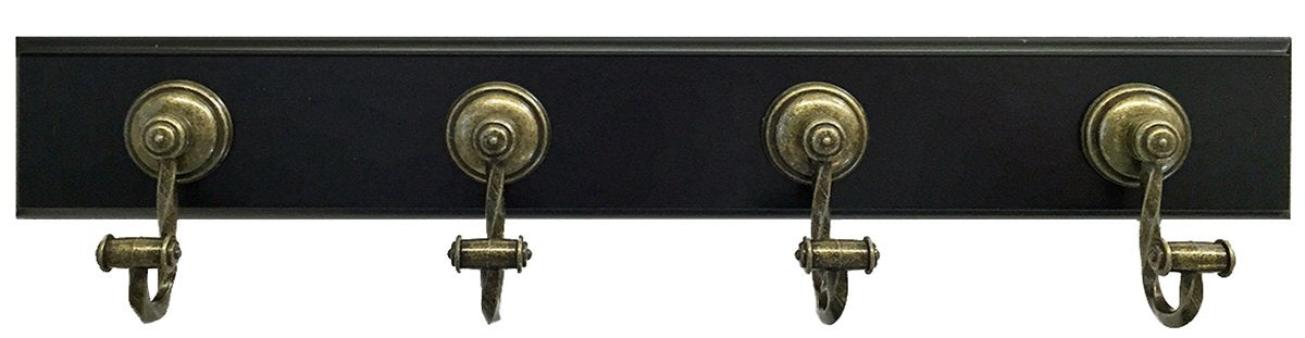 "Headbourne 8047E 18"" Dark Brown Hook Rail/Coat Rack with 4 Chrome Hooks"