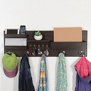 Online shopping woodymood professional wall organizer shelf key hooks coat hooks mail pocket ledges w 37 l 3 7 h 12 dark brown