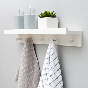 LXLA- Bamboo Wall-Mounted Coat Rack, White Wall Shelf Hangers, Solid Wood Hook Up, 22.7/35.5/48.5/61.1 × 8 × 12cm (Size : 5 Hooks)