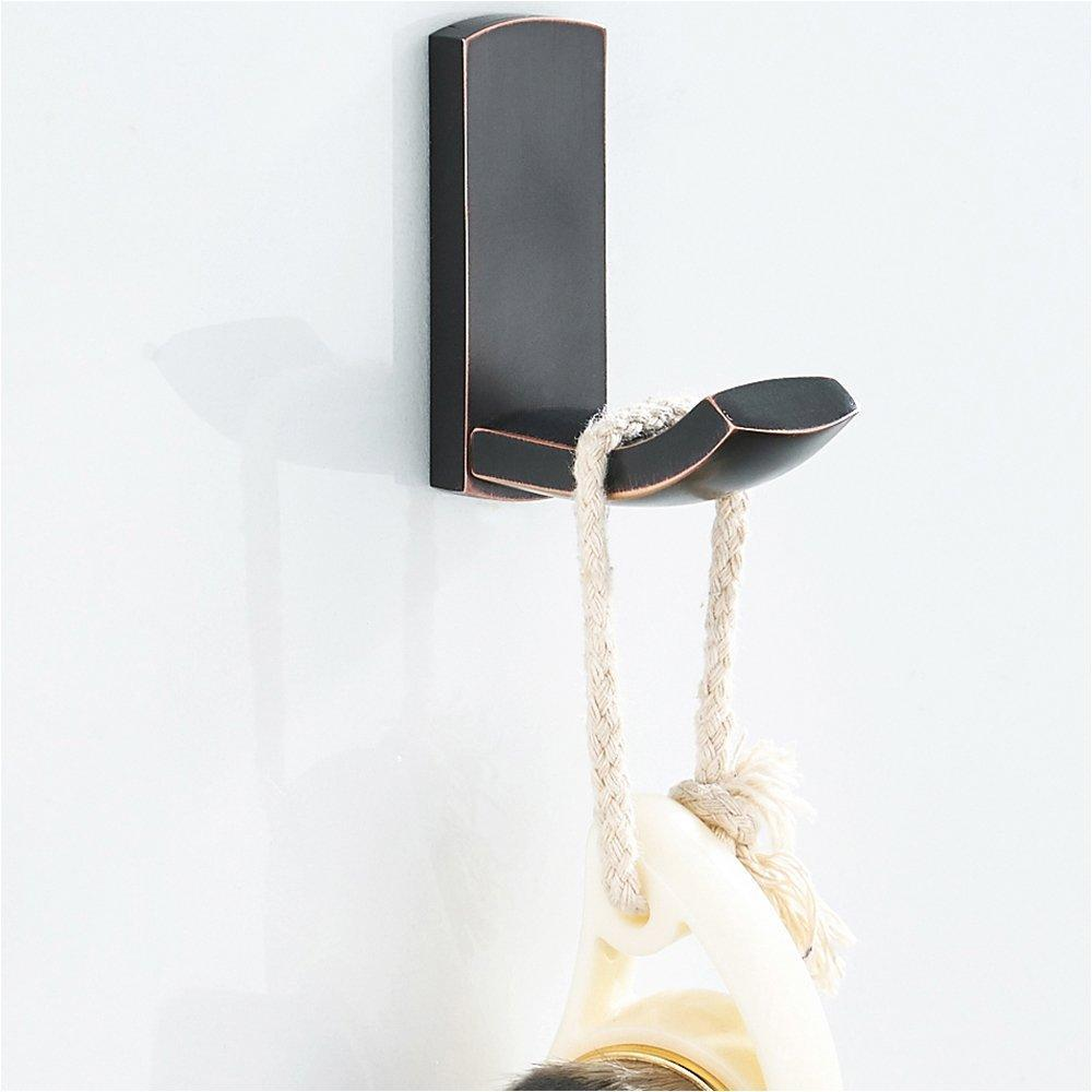 Products bathroom single towel wall hook oil rubbed bronze bathrobe coat hanger premium brass hand towel holder organizer heavy duty kitchen lavatory closet hat handbage hanging rack by blissporte 2 pack