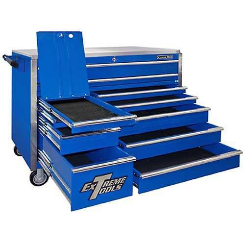 Storage extreme tools ex5511rcbl 11 drawer roller cabinet with security drawer and ball bearing slides 55 inch blue high gloss powder coat