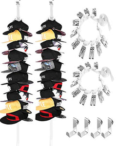 IZUS Baseball-Cap-Organizer-Holder-Racks Hat Hanger for Door - Each Hold More Than 20 Hats (White 2 Pack)