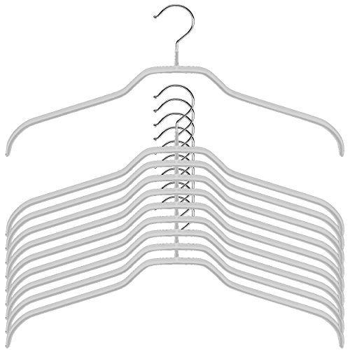 MAWA Reston Lloyd Silhouette Light Thin Non-Slip Space Saving 45/F Extra Wide Clothes Hanger, Set of 10, Silver