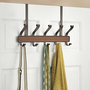 Top interdesign laredo over door storage rack organizer hooks for coats hats robes clothes or towels 5 dual hooks brown bronze