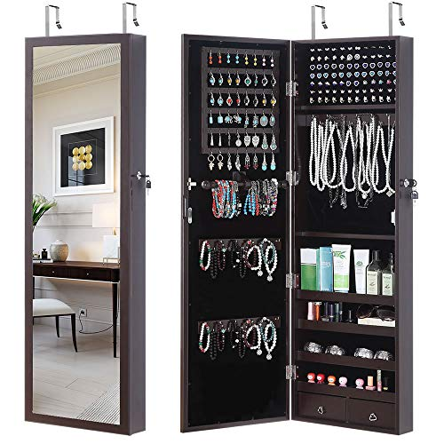 GISSAR Jewelry Cabinet Jewelry Armoire Wall Door Mount Mirror Storage Locking Jewelry Organizer,Brown
