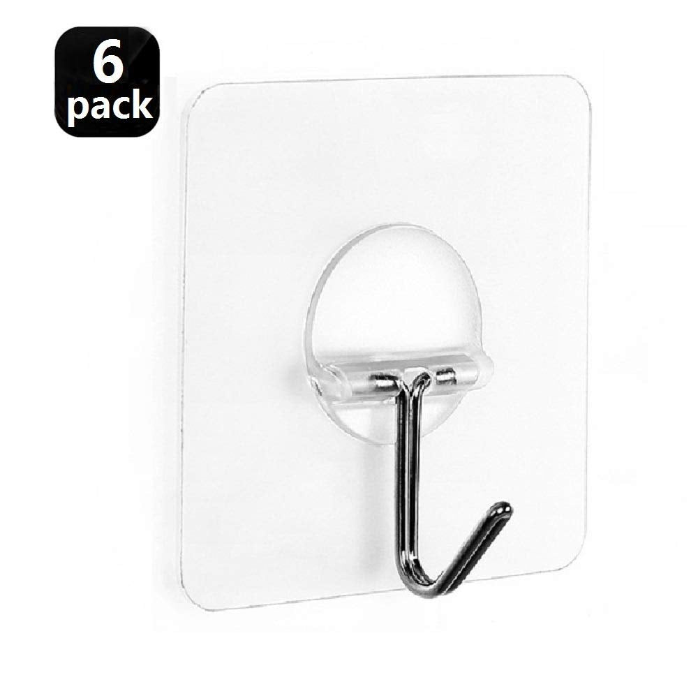 Fealkira Adhesive Wall Hooks 13.2lb(Max) Utility Stainless Steel hook for Towel Bathrobe Coats,Bathroom Kitchen Waterproof and Oilproof Nail Free Transparent Heavy Duty Wall hook & Ceiling Hanger(6pcs