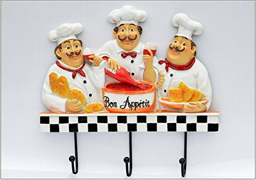 French Fat Chef Hand Made Painted Poly Resin Door Wall Mount Hooks Home Towel Clothes Hat Coat Key Hanger (Chef With Wine)