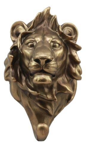 Bronzed Aslan King Of The Jungle Lion Bust Wall Hook Hanger Safari Trophy Decor