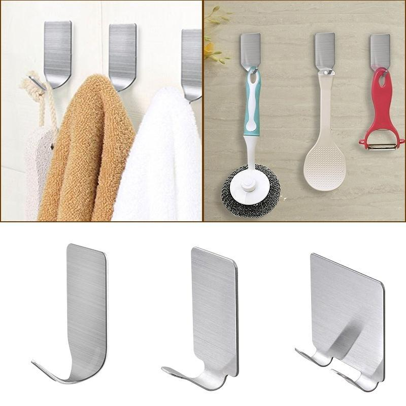 4 Pcs Adhesive Hooks Stainless Steel Waterproof Self Adhesive Hooks 3M Damage Free Wall Hooks for Jewelry Organizing Hat Hooks