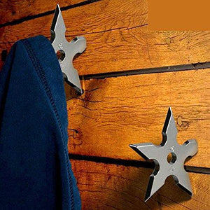 Purchase coat hooks ninja throwing darts star stainless steel creative wall door hook clothes hats hanger holder home decoration 5 pcs
