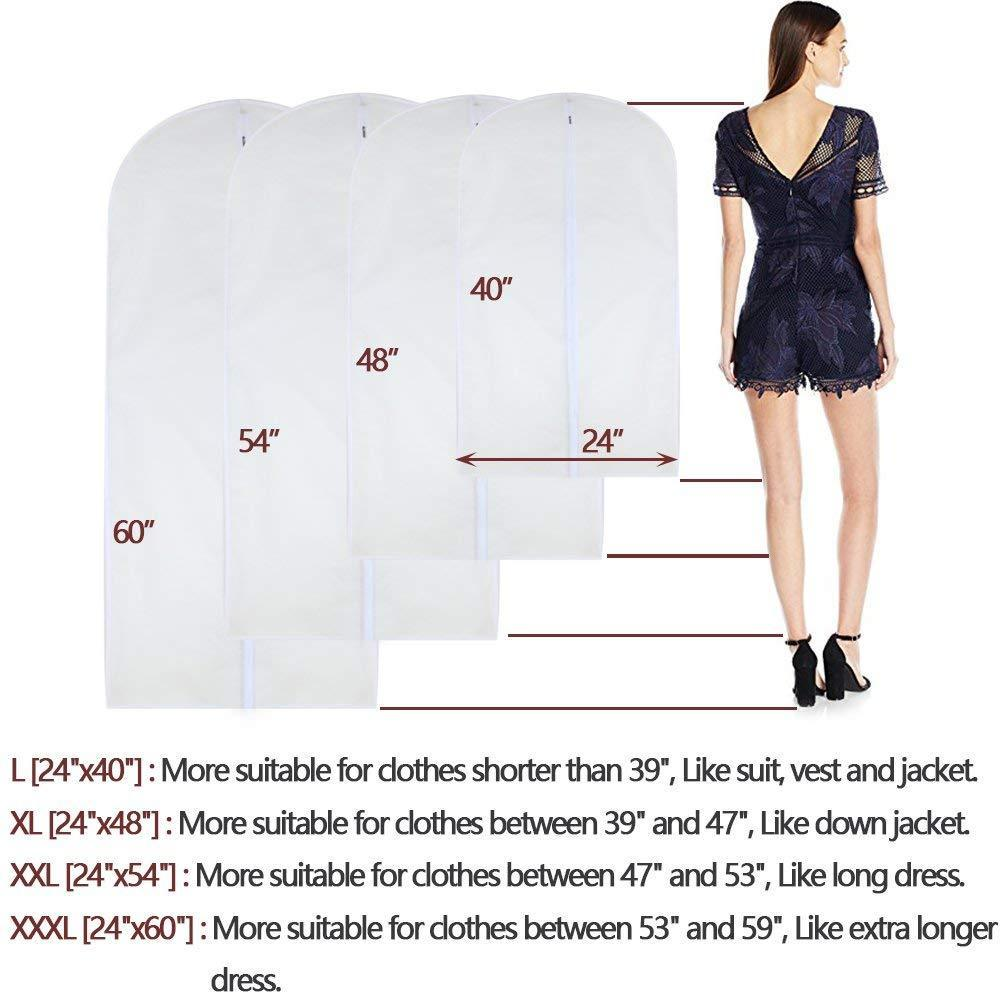 Discover the best homeclean moth proof garment clothing bags 24 x 60 hanging clothing storage bags with 6 cedar balls for coat dance costumes long dress and long gowns