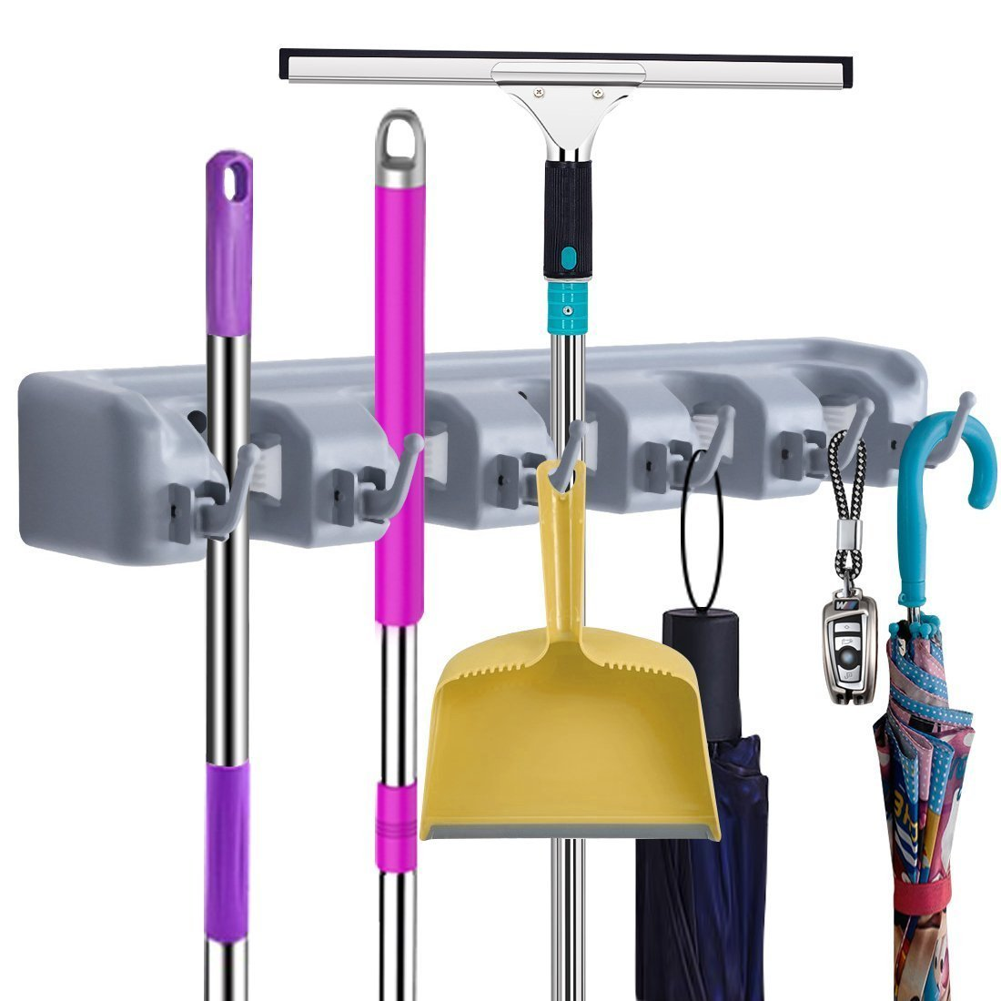 Mop Broom Holder,Wall Mounted Garden Tool Organizer Space Saving Storage Rack Hanger with 5 Position with 6 Hooks Strong Grip Holds up to 11 Tools for Kitchen Garden and Garage