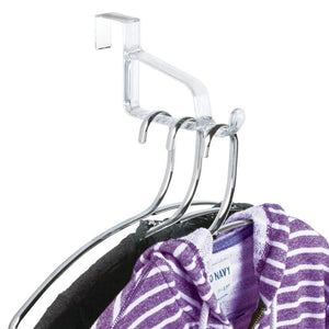 Organize with mdesign modern over door valet hook multi hanging storage organizer hook for coats hoodies hats scarves purses bath towels robes 3 pack clear