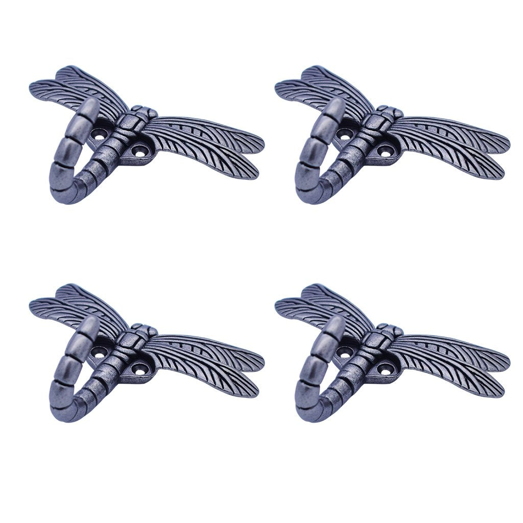HanLingGG Dragonfly Wall Mounted Hanger Hooks Heavy Duty Coat Tower Hooks with Screws for Clothes, Hat, Bags, Key Perfect Halloween Decorations (4 Pcs)