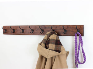 Try solid cherry wall mounted coat rack with oil rubbed bronze wall coat hooks 4 5 utra wide rail made in the usa mahogany 52 x 4 5 ultra wide with 10 hooks